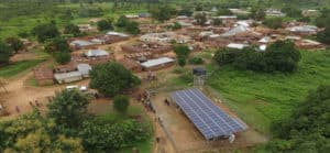 PV panels providing electricity in village in Nigeria